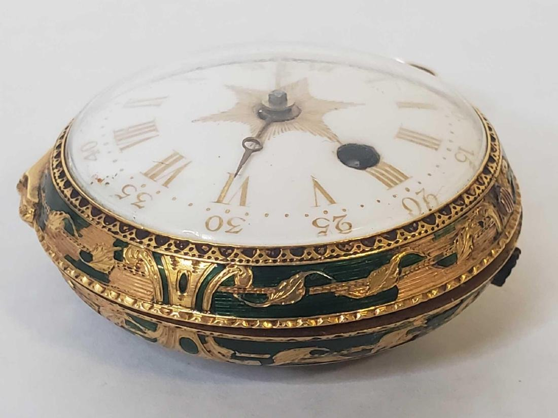 Tho. Lozano Royal Navy gold fusee portrait pocket watch - 8