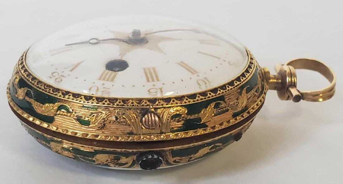 Tho. Lozano Royal Navy gold fusee portrait pocket watch - 9