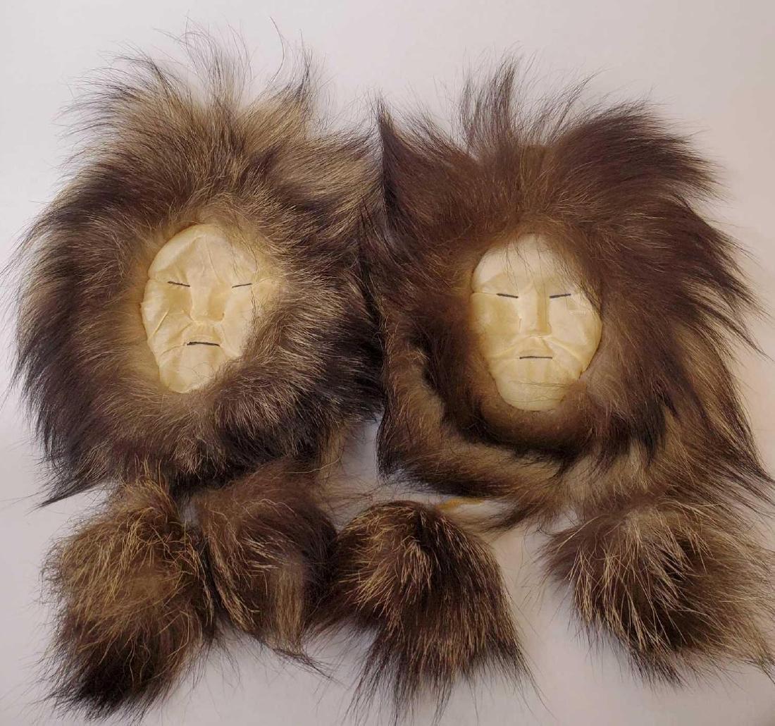 Pair of Eskimo seal skin and wolverine fur wall masks