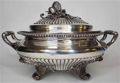 Monumental George IV sterling silver soup tureen c.1824