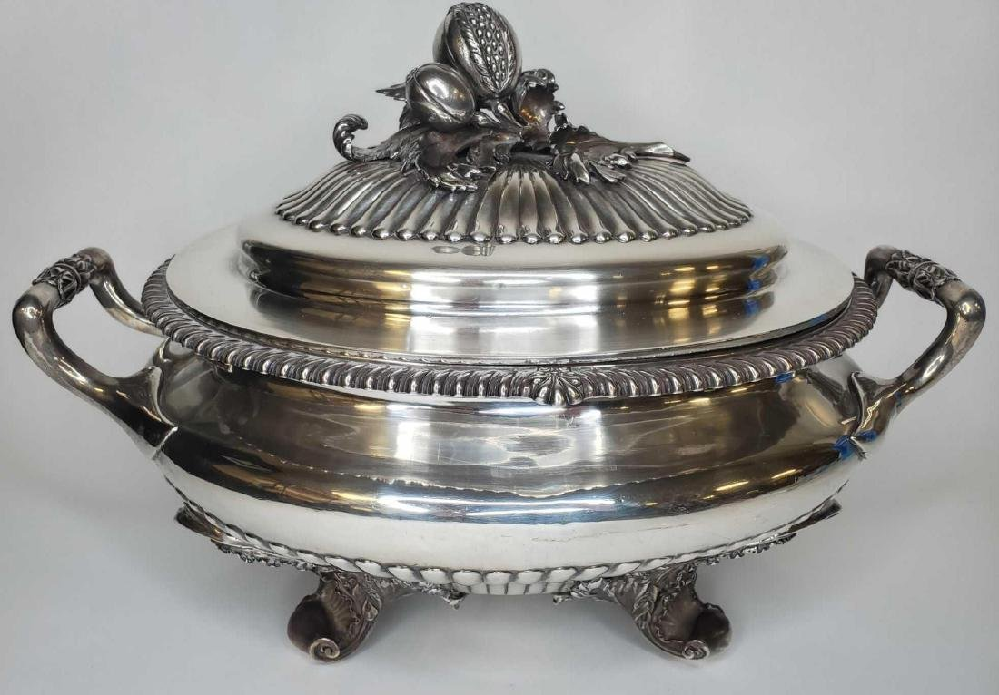 Monumental George IV sterling silver soup tureen c.1824 - 2