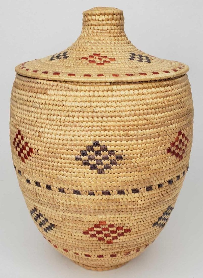 Tightly woven hooper bay grass & seal gut lidded basket