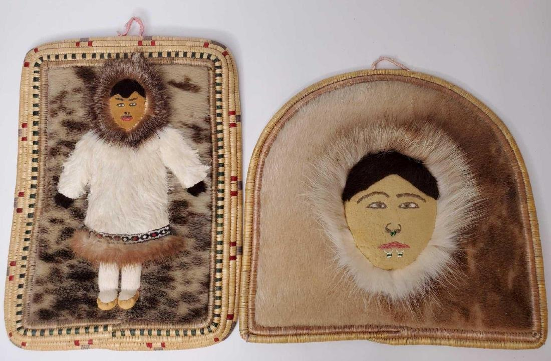 Pair of Eskimo fur, natural & dyed grass wall plaques