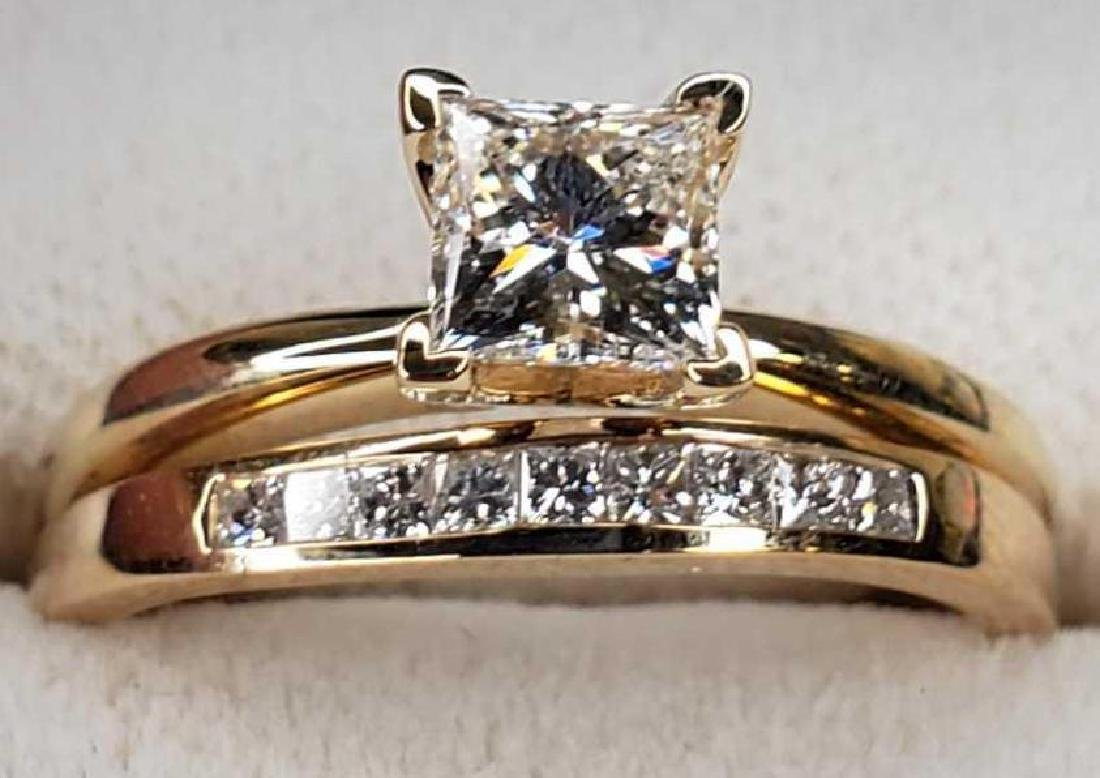 14K gold diamond engagement ring and wedding band