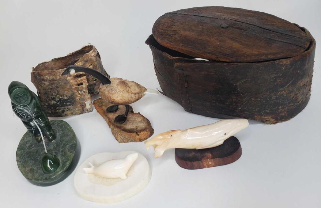 Eskimo carvings, jade carvings, baleen basket artifact