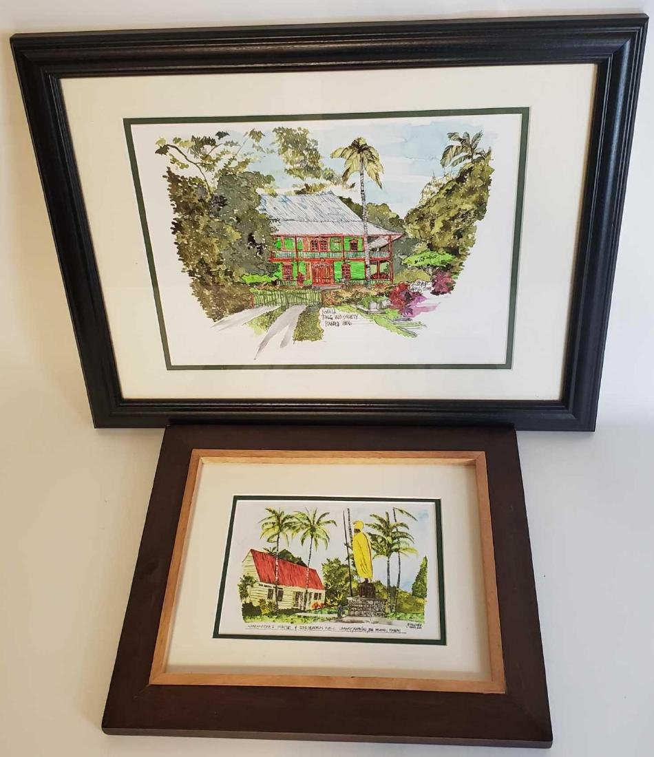 Two Gregory Boyer watercolor prints