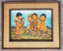 Joan Arend Kickbush (1926-2006) Eskimo Children Scene