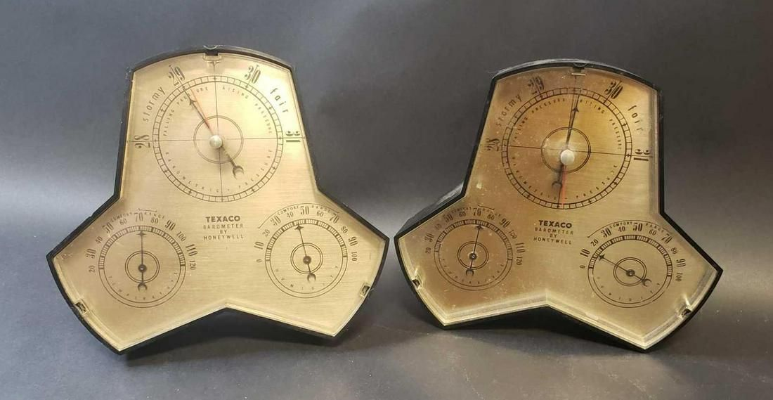 Pair of Texaco Barometers