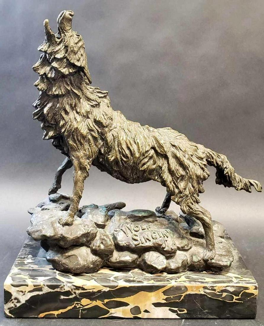 "Mary Frances DeHart (B. 1941) ""Wolf Singin'"" Bronze"