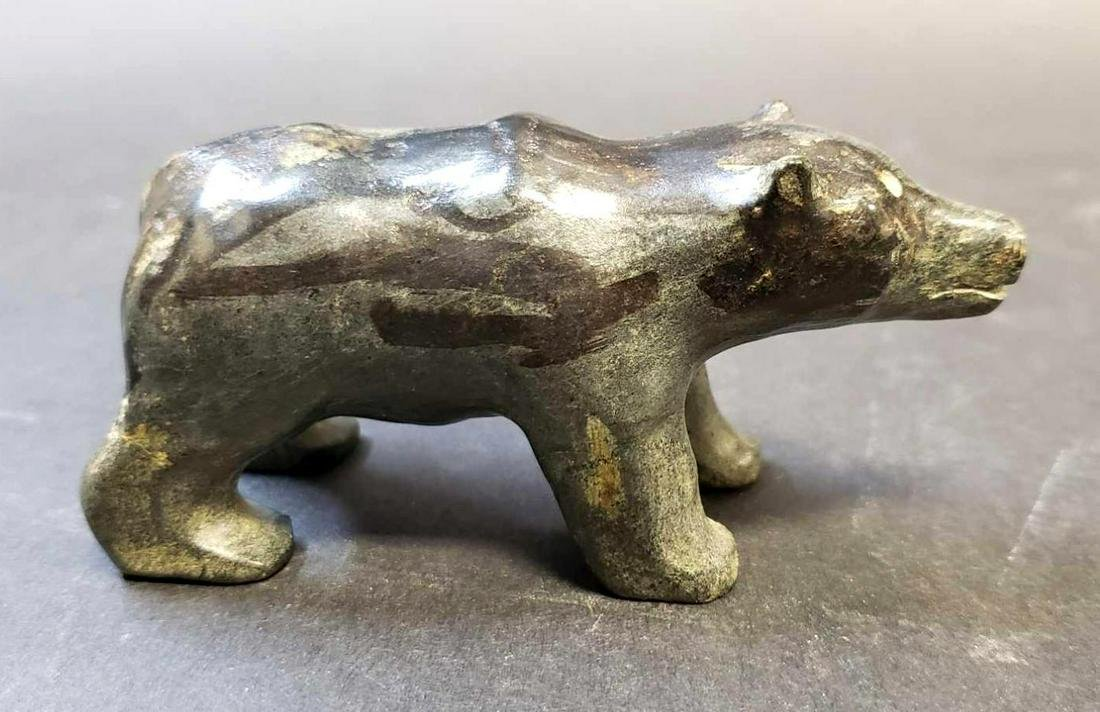 Inuit Green Soapstone Bear Carving