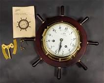 Vintage Schatz Royal Mariner Ships Wheel Clock