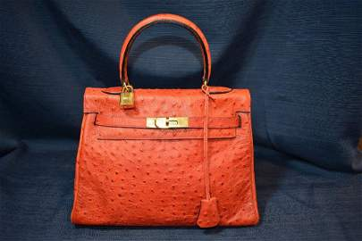 Authentic Hermes Kelly 28 Handbag - Rouge - Ostrich