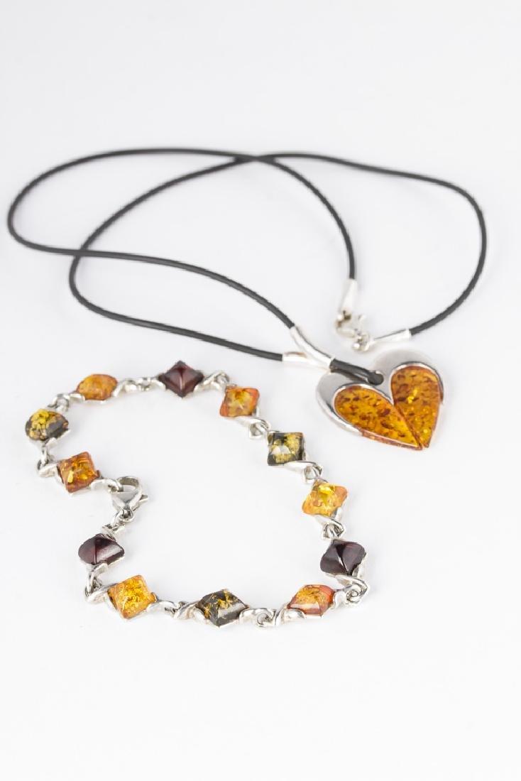 Amber Sterling Silver Necklace & Bracelet