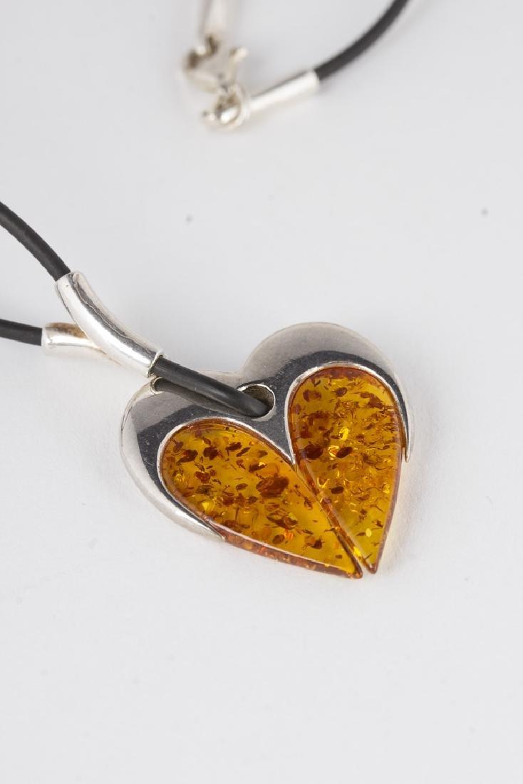 Amber Sterling Silver Necklace & Bracelet - 2