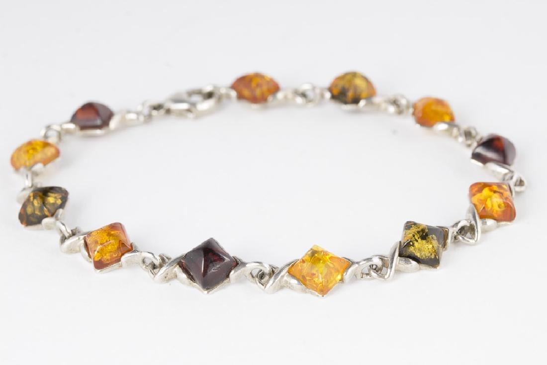 Amber Sterling Silver Necklace & Bracelet - 4