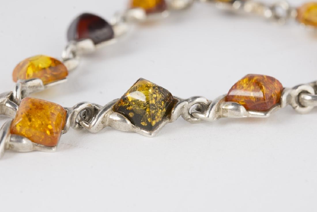 Amber Sterling Silver Necklace & Bracelet - 5