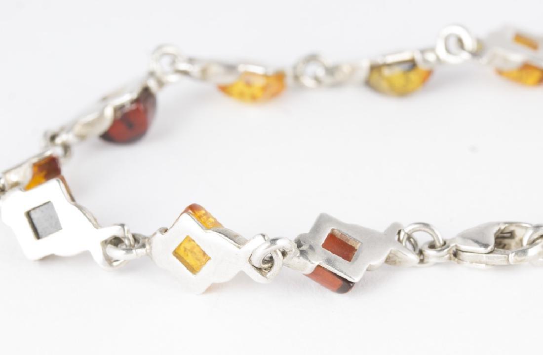 Amber Sterling Silver Necklace & Bracelet - 6