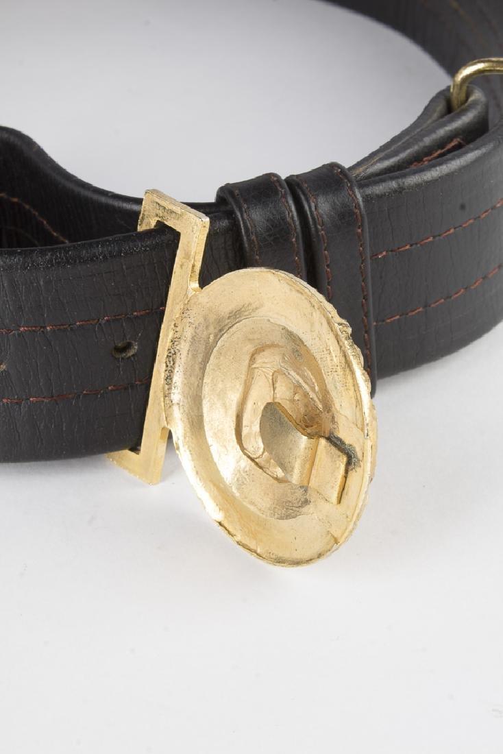 Vintage German Navy Leather Sword Belt - 5