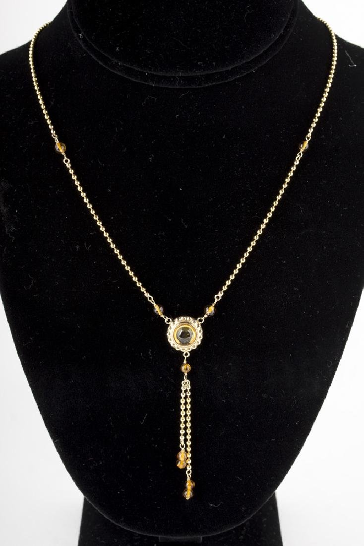 14KT Yellow Gold Citrine Cabachon Necklace