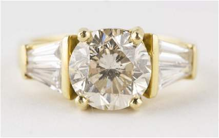 3.20 CTW M/SI2 Round Diamond 18k Engagement Ring