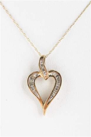 Diamond Heart Necklace 10KT Yellow Gold