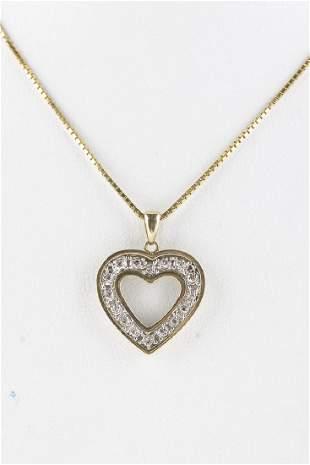 Diamond Heart Necklace 10KT Yellow Gold Pendant on 14KT