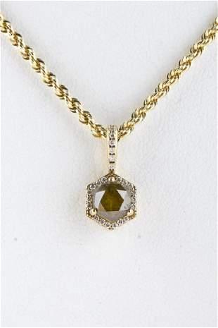 GIA Fancy Yellow 125 carat Diamond 18k Pendant