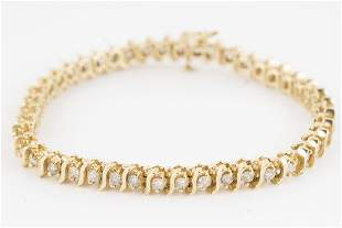 Diamond Bracelet 14KT Yellow Gold 44ctw