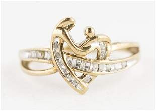 Diamond Heart Ring 10KT Yellow Gold