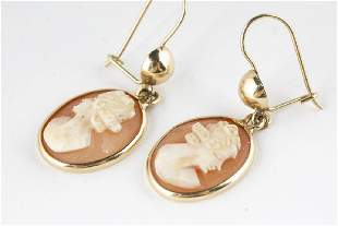 Cameo Earrings 14KT Yellow Gold