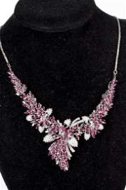 Ruby and Diamond 14KT White Gold Necklace