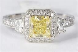 GIA 1.25 Fancy Yellow Diamond Platinum & 18kt Ring