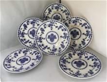 6 MINTON BLUE & WHITE DINNER PLATES DELFT PATTERN