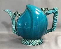TURQUOISE GLAZED CADOGAN WINE OR TEA POT c.1660-1722