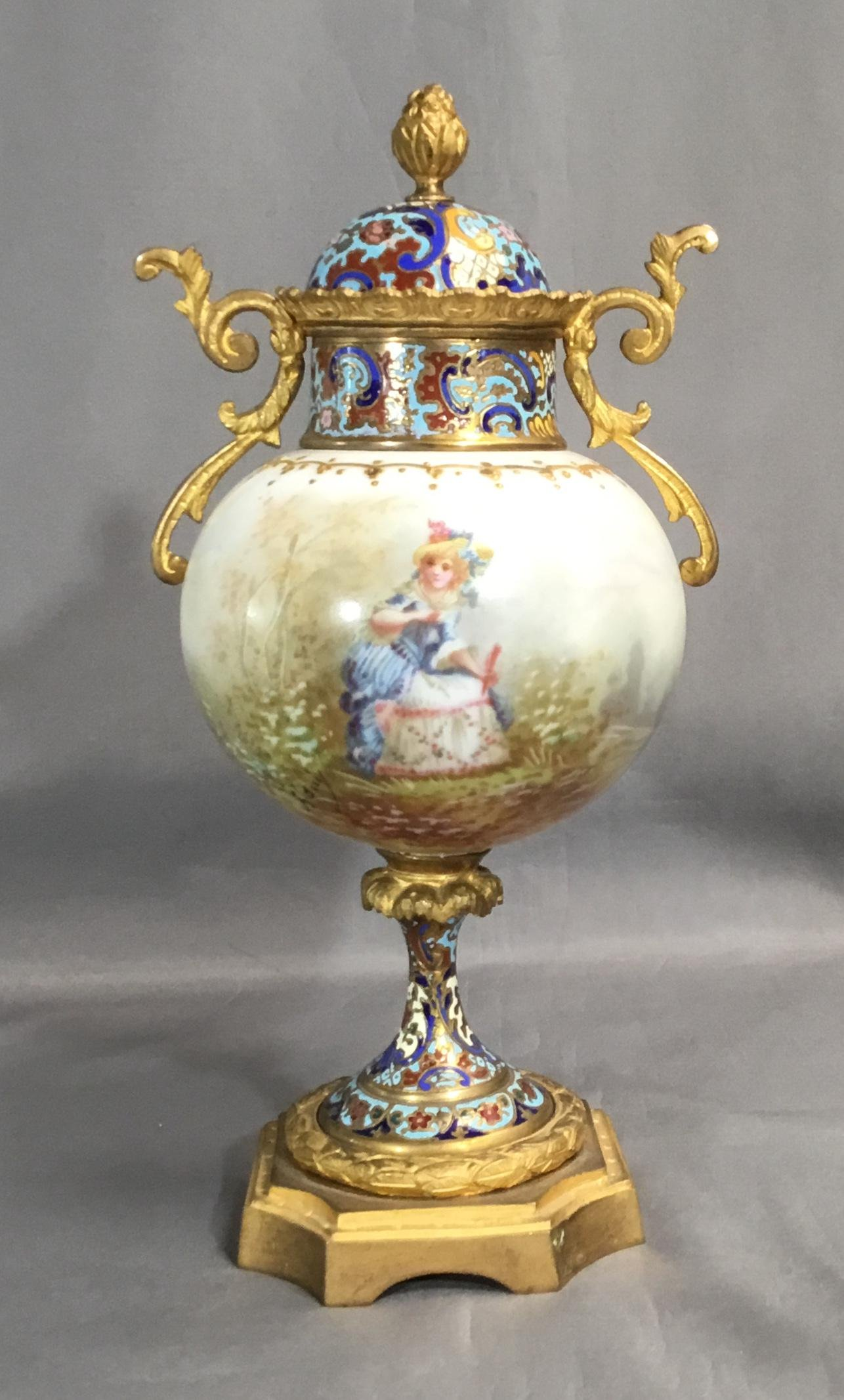 ANTIQUE SEVRES STYLE URN FRENCH ORMOLU