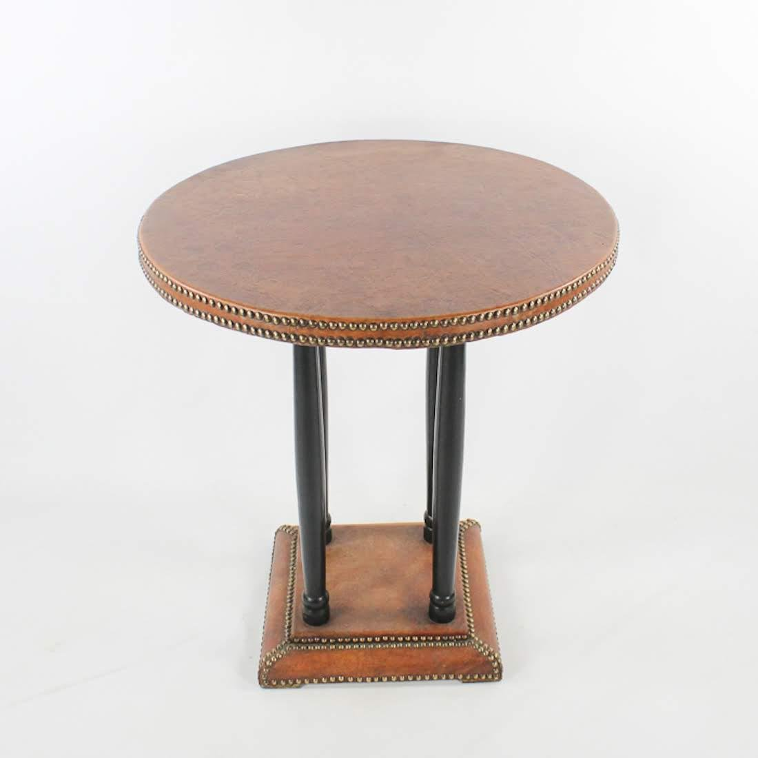 Antique French Leather Round Side Table with Brass Clad