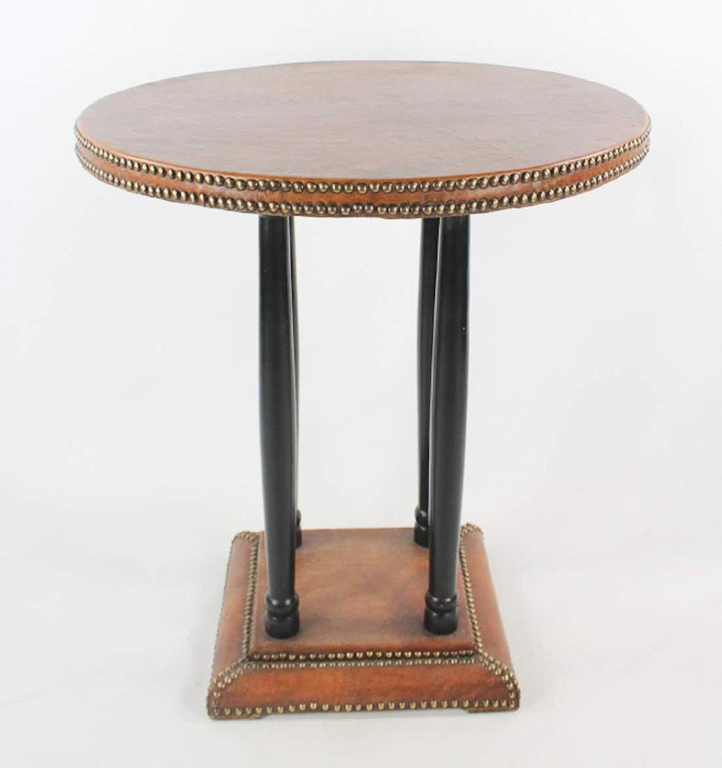 Antique French Leather Round Side Table - 2