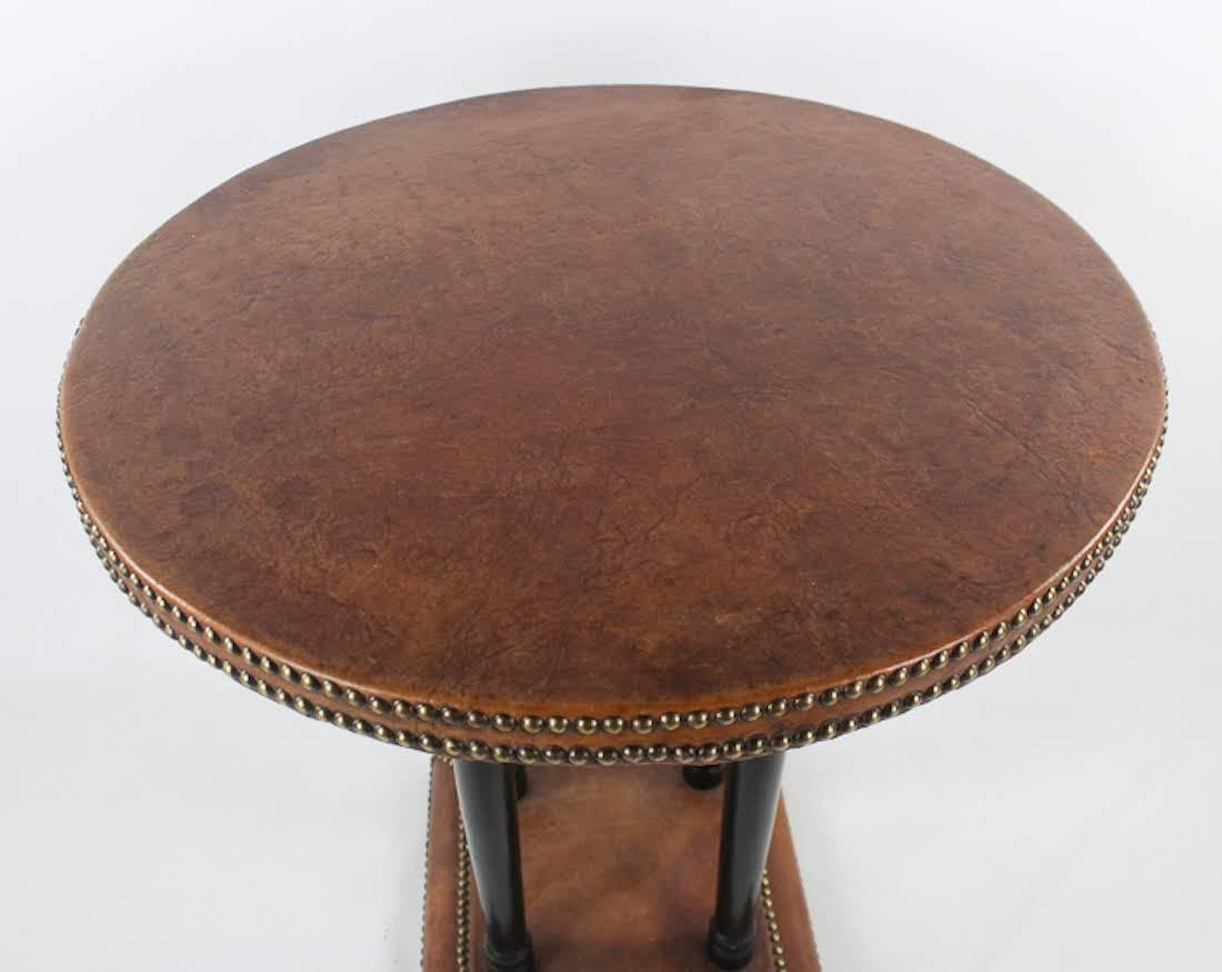Antique French Leather Round Side Table - 3