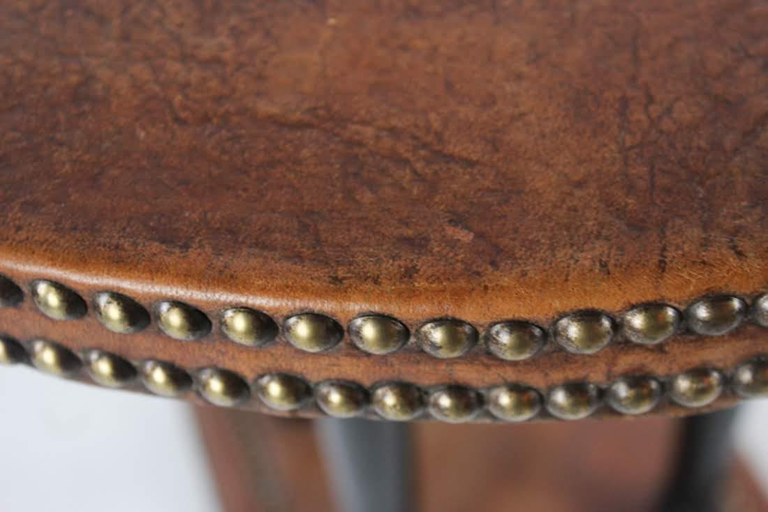 Antique French Leather Round Side Table - 4