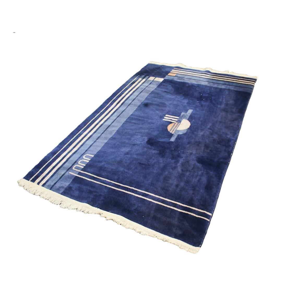 Chinese Art Deco Blue Geometric Rug