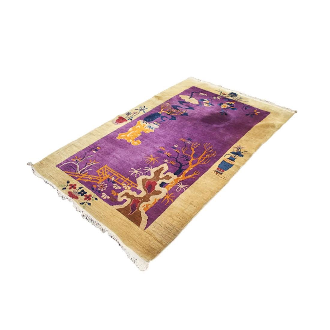 Chinese Art Deco Purple Floral Rug
