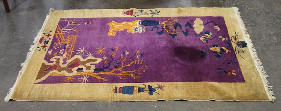 Chinese Art Deco Purple Floral Rug - 2