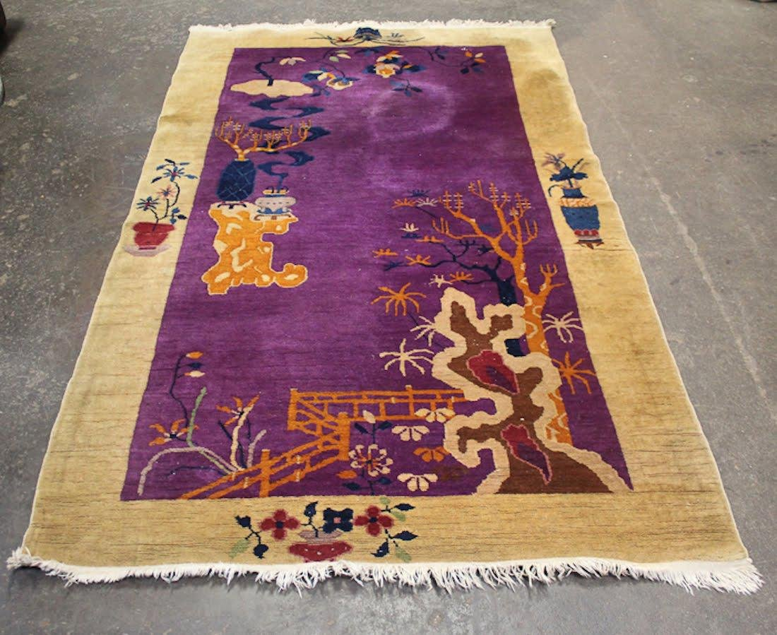 Chinese Art Deco Purple Floral Rug - 3