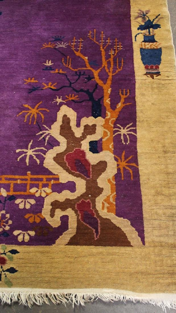 Chinese Art Deco Purple Floral Rug - 4