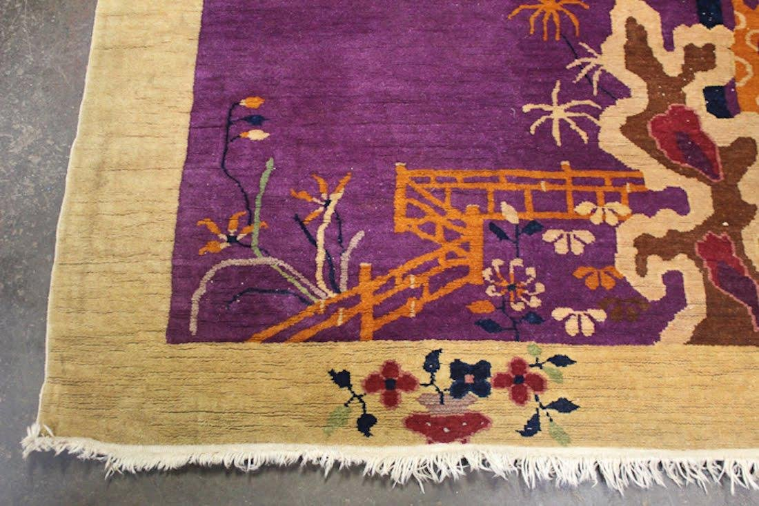 Chinese Art Deco Purple Floral Rug - 5