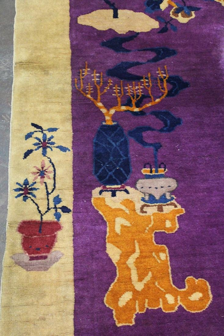 Chinese Art Deco Purple Floral Rug - 6