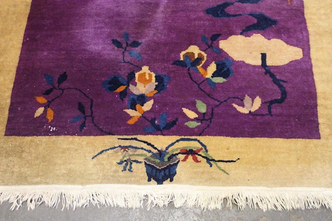 Chinese Art Deco Purple Floral Rug - 7