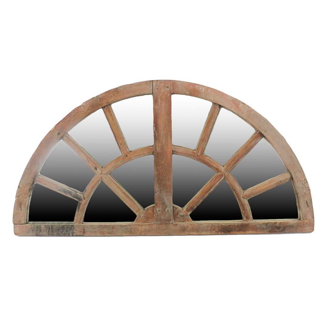 Antique Semi-Circular Wooden Transom Window Mirror
