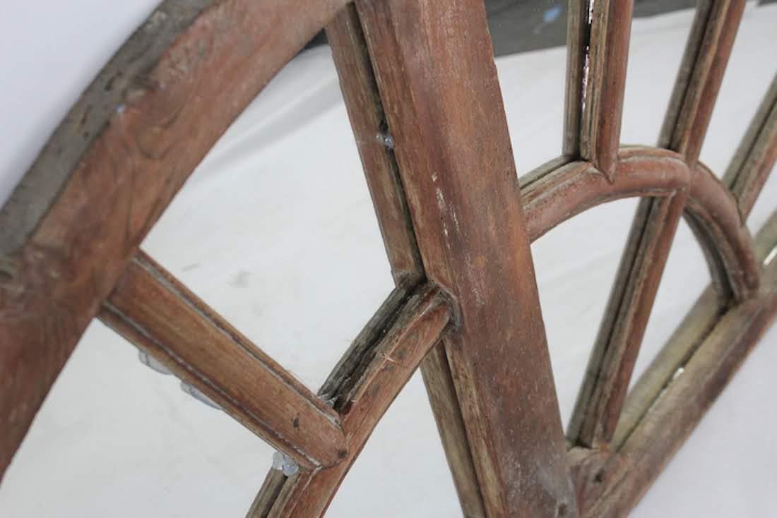 Antique Semi-Circular Wooden Transom Window Mirror - 2