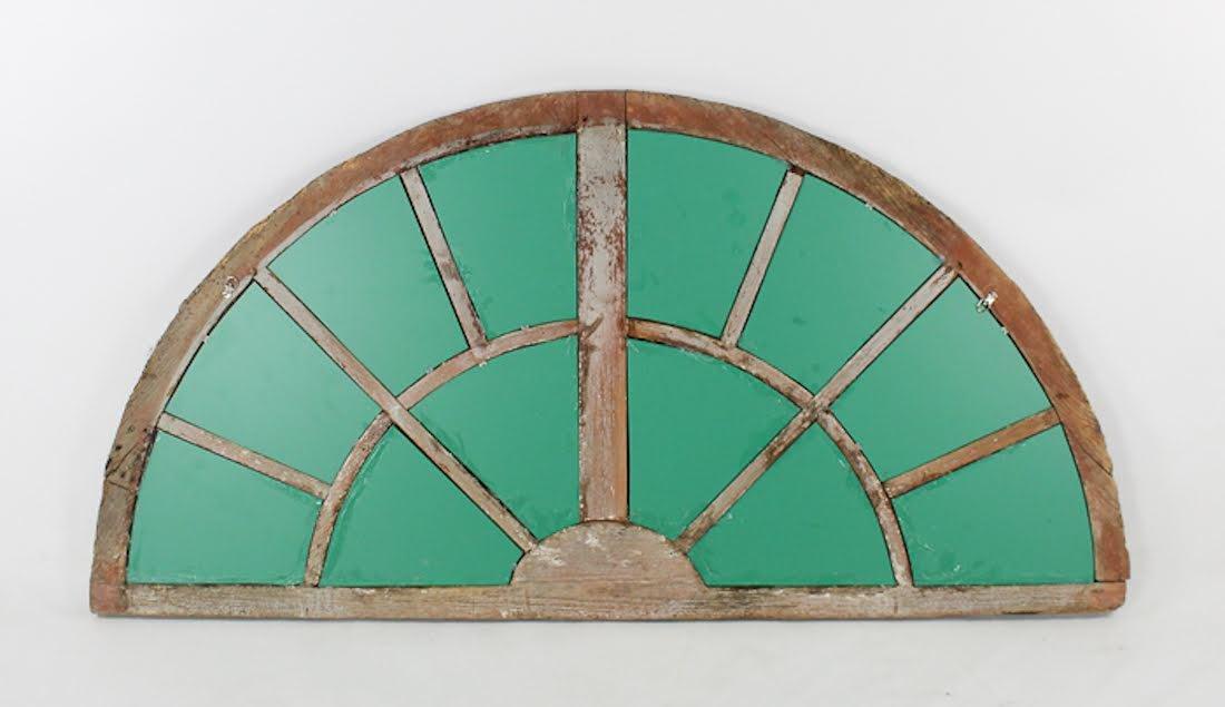 Antique Semi-Circular Wooden Transom Window Mirror - 6